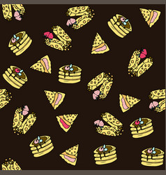 seamless pattern with doodle sweet pancakes vector image