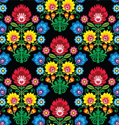 Seamless Polish folk art floral pattern - lowicz vector image