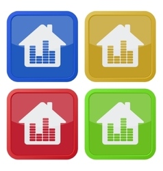 Set of four square icons - house with equalizer vector