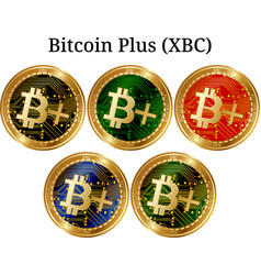 Set of physical golden coin bitcoin plus xbc vector