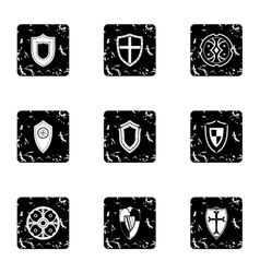 Shield icons set grunge style vector