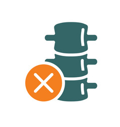 Spine with cross checkmark colored icon diseased vector