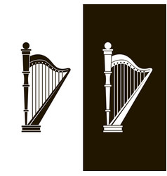 Stringed harp icons vector
