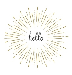 Sunburst frame with hello text Retro frame vector image