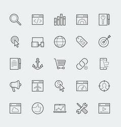 thin line web icons set - search engine vector image