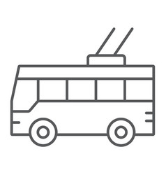 trolleybus thin line icon transport and public vector image
