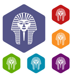tutankhamen mask icons set hexagon vector image