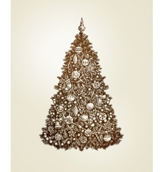 Vintage Christmas tree with xmas decorations Hand vector