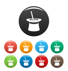 wand in hat icons set color vector image