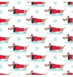 Winter seamless pattern with cute dogs vector