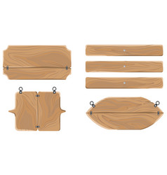 Wooden warning boards collection isolated on white vector