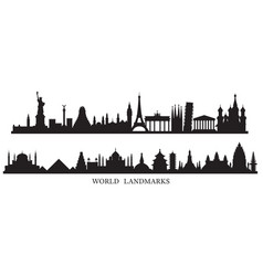 World skyline landmarks silhouette vector