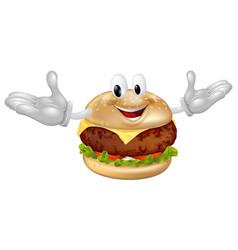 burger mascot man vector image vector image