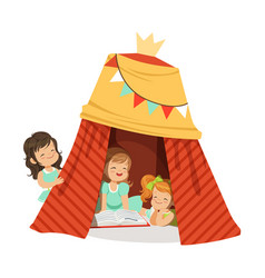 cute little girls sitting in a homemade teepee and vector image