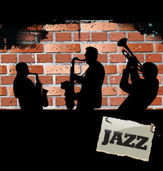 Jazz musicians - Brick wall background vector image vector image