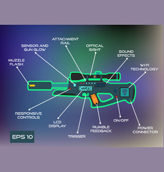 laser tag game laser gun infographics in trendy vector image vector image