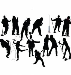singer silhouettes vector image
