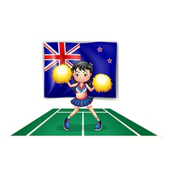 A cute cheerdancer in front of the New Zealand vector image vector image