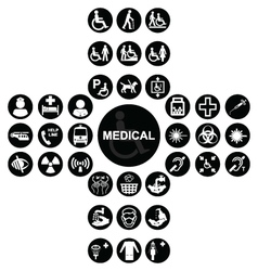 Black Medical and health care Icon collection vector image