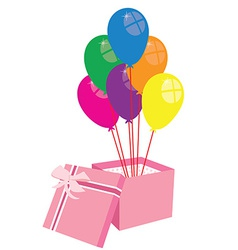 Box with balloons vector image vector image