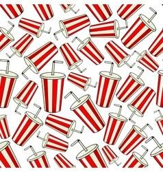 Classic red Coke paper cup seamless background vector image