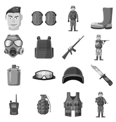 Military equipment icons set gray monochrome style vector image