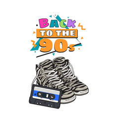 retro style disco attributes - zebra sneakers and vector image vector image