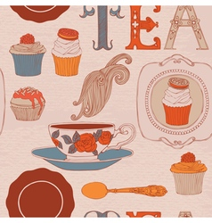 Tea and cakes seamless pattern vector