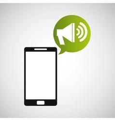 cellphone megaphone multimedia icon vector image