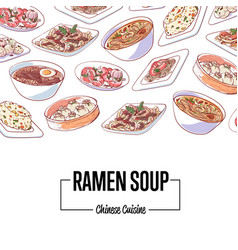 Chinese ramen soup poster with asian dishes vector