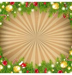 Christmas Vintage Border With Old Sunburst vector image vector image