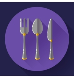 Dishes - Spoon knife and fork icon Flat vector image vector image