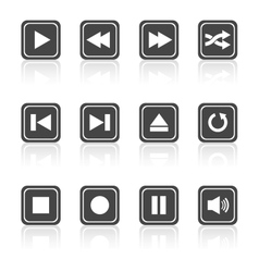 Media player square buttons set vector image vector image