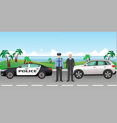 policeman and police patrol on a road with vector image