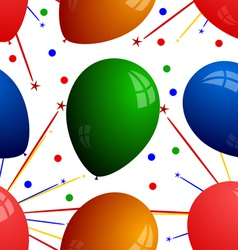 Seamless texture with balloons and fireworks vector image