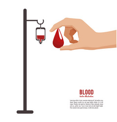 blood hand holding drop vector image vector image