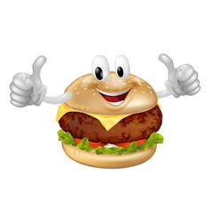 burger mascot vector image vector image