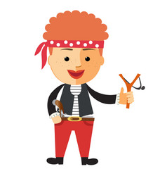 cartoon boy in pirate costume vector image vector image