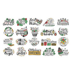 collection of christmas handwritten lettering with vector image vector image