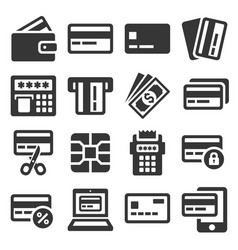 credit card icons set on white background vector image