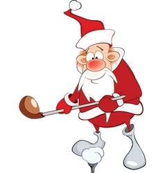 Cute Santa Claus Golfer Cartoon vector image vector image