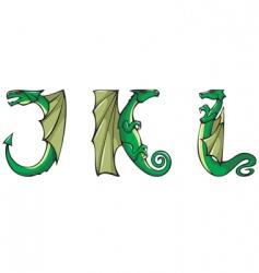 dragons Alphabet jkl vector image vector image