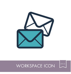mail outline icon workspace sign vector image vector image