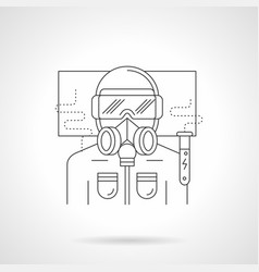 Scientist in safety suit line vector