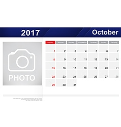 Year 2017 October month simple and clear design vector image