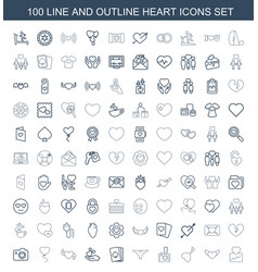 100 heart icons vector