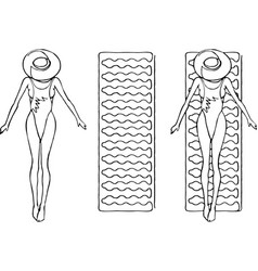 a woman in swimsuit swims on a mattress line art vector image