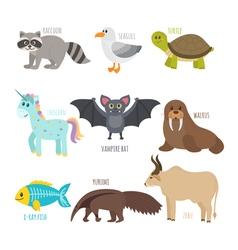ABC Cute zoo alphabet in Funny cartoon animals vector