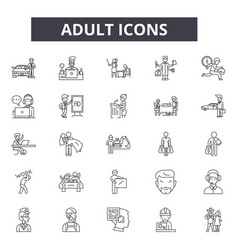 Adult line icons editable stroke signs concept vector