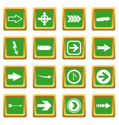 Arrow icons set green vector
